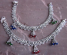 Indian Anklet Ethnic Jewelry Silver Oxidized Royal Bollywood Bridal Banjara Paya