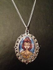 Silver Charm Necklace Pendant Disney Princess Stained Glass Belle Beauty Beast