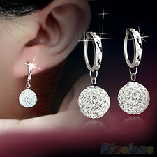 Delicate Design Women Clear Crystal Rhinestone Round Ball Charming Hoop Earrings