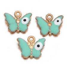 20x Hot Sale Green Enamel Golden Butterfly Shape Alloy Charms Pendant Findings L