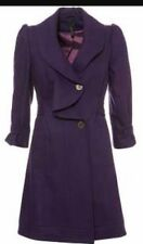 Topshop Purple Plum Wool Waterfall Belted Vtg 50s Skirted Trench Dress Coat 10 P