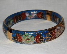Vintage Cloisonne Bangle Bracelet Blue Gold Painted Enamel Peony Flower