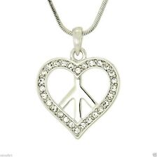 Heart Peace Hippie W Swarovski Crystal Clear Chain New Charm Pendant Day Gift