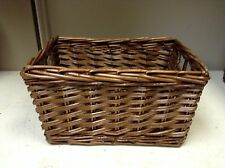 LARGE Woven Wood Wicker storage Organization Toy Laundry Basket HONEY 18x13x9