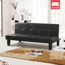 New Design Black Convertible Comfortable Sofa Bed Faux Leather for 3 Seater