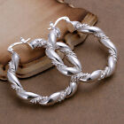 wholesale sterling solid silver fashion 38mm circle hoop earrings +box SE156