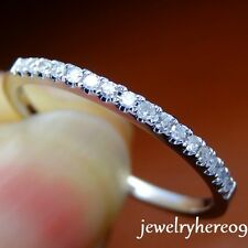 1.4mm Wide Pave SI2 Diamond Solid 14K White Gold Half Eternal Wedding Band Ring