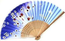 Vintage Chinese Style Blue Silk Bamboo Flowers Print Folding Hand Fan