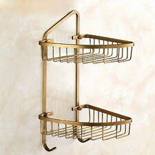Vintage Wall Mount Corner Shelf Shower Caddy Storage Basket Bathroom Towel Hook