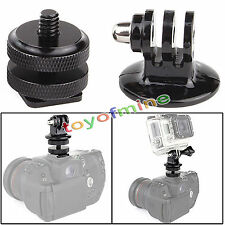 "1/4"" Hot Shoe Adaptor + Camera Tripod Mount Adapter for GoPro HD Hero 1 2 3 3+ 4"