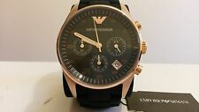 New EMPORIO ARMANI Women's Black & Rose Gold Chronograph Watch - AR5906