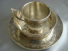 BLACKINTON sterling silver ~BABY CHILD BOWL SAUCER CUP SET ~ ANIMALS NURSERY
