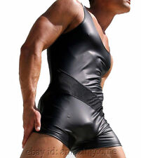 Men's Leather Like Splice Leotard Wrestling Singlet Fitness Bodywear Vest Suit