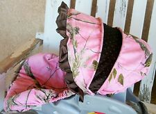 Pink Realtree camo and brown minky car seat cover and hood canopy cover w/ruffle