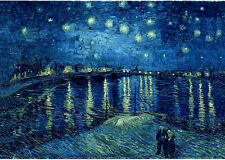 VAN GOGH Starry Night over the Rhone MUSEUM QUALITY GICLEE 8.3X11.7 CANVAS PRINT