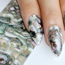 Green Marble Nail Foil Decoration Abalone Style Glue Foil Decals  in Jar 1m GL43