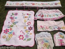 KIDSLINE -LULLABY BIRDS 7-PC CRIB BEDDDING SET QUILT PINK FLOWERS BUMPER NURSERY