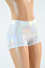 LARGE Mid Rise Flashbulb Holographic Festival Rave Party Shorts Ready To Ship!