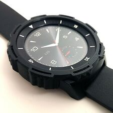 """3D Printed HARD COVER for LG G Watch R """"TOUGH SLOTTED"""" BLACK"""