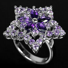 Silver 925 Large Genuine Natural Amethyst Star Design Ring Size P  (US 7.75)