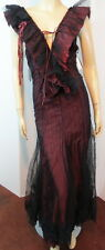 Cosplay NWT IN LOVE CARLING Burgundy Dotted Mesh Lace Up GOTH LOLITA Dress 6 $2K