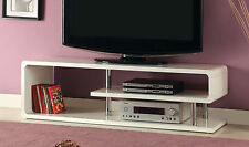 Ninove Contemporary White High Gloss Lacquer TV Console Stand with Chrome Poles