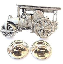Steam Roller Handcrafted in Solid Pewter In UK Lapel Pin Badge