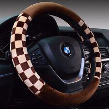 38cm Universal Lattice Wheel Covers Steering Wheel Cover Mosaic Brown one