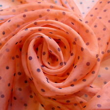 ORANGE DOT PRINTED CHIFFON 100% POLYESTER 58 INCH WIDE FABRIC BY THE YARD