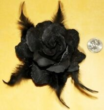 Black Flower Feather Tribal Goth Burlesque Emo Belly Dance Dancing Hair CLIP PIN