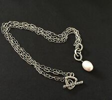 Silpada Sterling Retired Double Chain Pearl Toggle Necklace 925