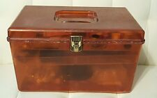 Vintage amber brown Wilson Wil-hold Sewing box with notions, threads, etc