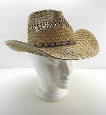 Summer Club Styled in Australia Natural Fiber Straw Hat - Fabric/Leather Band