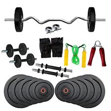 Fitfly Home Gym Set 16kg Weight, 3ft Curl Rod,Gloves,Skipping Rope