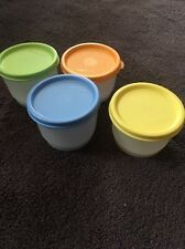 New! lot of 4 Tupperware #1229 Snack Cups With Green, Blue, Orange, Yellow Lids