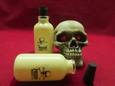 2 SKULL LIQUOR BOTTLES SHOT GLASS SKULL BOTTLE LIQUOR DISPLAY SHELF FREE SHIP