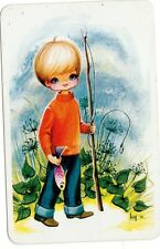 JOY GIRL vintage blank back swap cards 1970s fishing boy