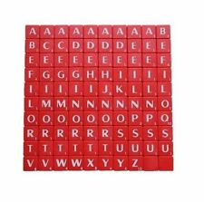 100 Plastic scrabble tiles Red white letters and Numbers for crafts uk new
