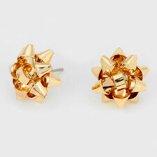 "Gift Bow Earrings Christmas Ribbon Metal 5/8"" Studs Holiday Jewelry GOLD Party"