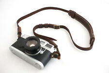 Genuine Real Leather Camera Shoulder Neck Strap for EVIL Film Camera Dark Brown