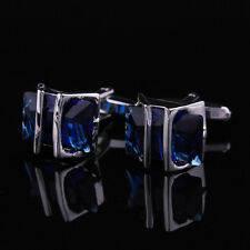 blue Crystal Silver Mens Wedding Party gift shirt cufflinks cuff links