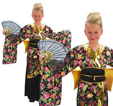 Childrens Geisha Girl Fancy Dress Costume Oriental Japanese Kids Outfit L