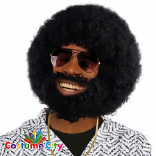 Adults Mens 1970s Black Disco Oversized Afro Wig & Beard Fancy Dress Accessory