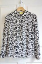 ANTHROPOLOGIE MAEVE sz 6 ANNI POPOVER white and black Bicycle blouse EUC