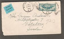 1940 form 2978 label air mail cover Scott C24 White Plains NY to Goteborg Sweden