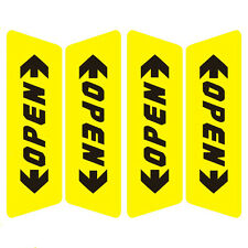 1 Set New Car Yellow Door Side Open Warning Safety Sticker Reflective Decal Word