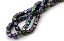 100 Purple Iris Czech Glass Cube Beads 3MM