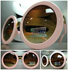 HUGE OVERSIZE VINTAGE RETRO Style SUN GLASSES Round Pink & Gold Frame Brown Lens