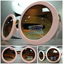 HUGE OVERSIZE VINTAGE RETRO Style SUN GLASSES Round Pink & Gold Frame Brown Lens