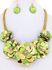 LITE GREEN SHELL WITH GOLD TONE FLOWER GOLD TONE LINKS BIB NECKLACE EARRING